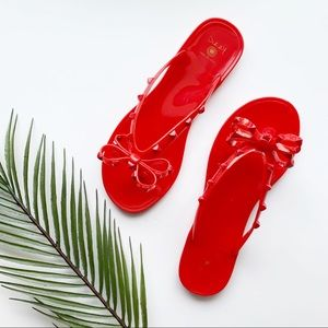 Studded Jelly Bow Red Flip Flops